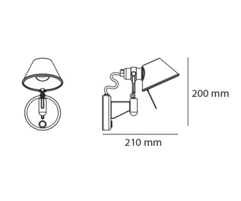 Artemide Tolomeo Faretto micro afmetingen